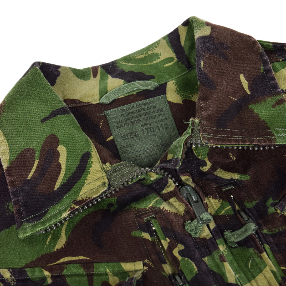 Vintage 90s British Army Combat Smock Temperate Woodland DPM Camo Jacket L collar