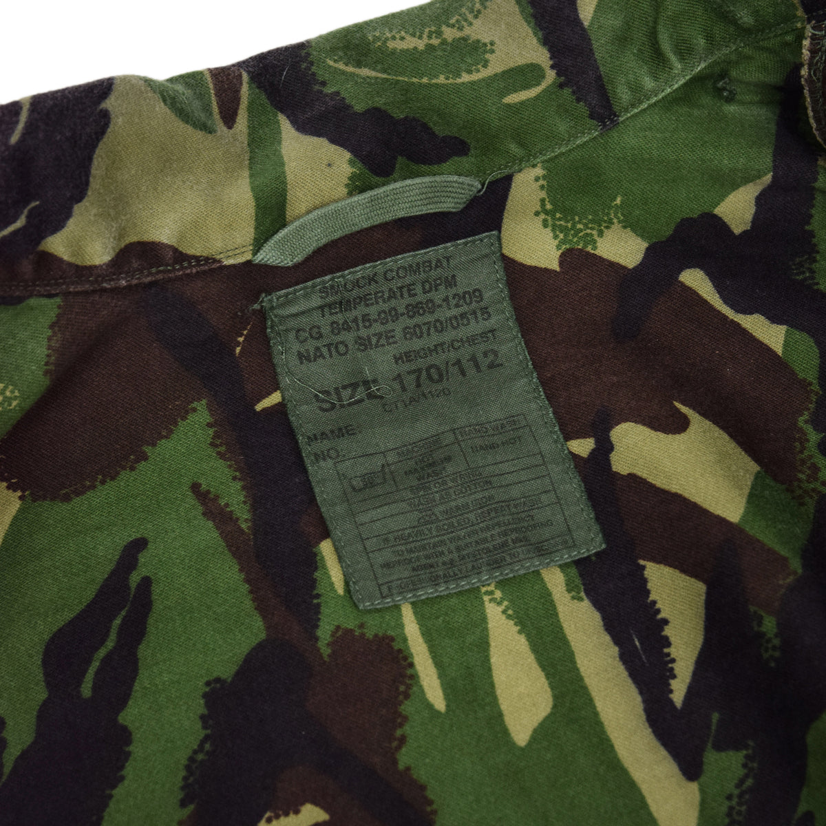 Vintage 90s British Army Combat Smock Temperate Woodland DPM Camo Jacket L label