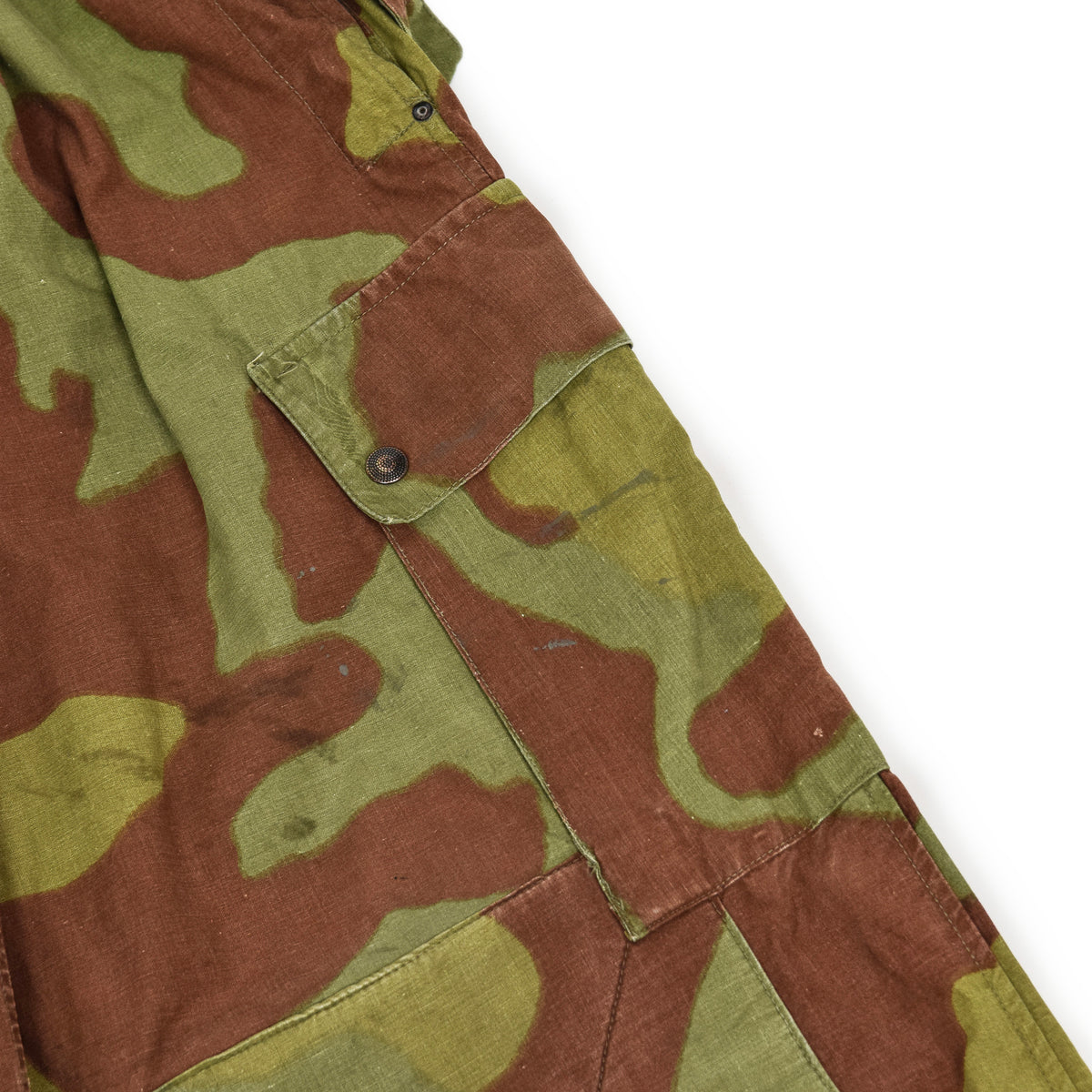 Vintage 60s Italian Military San Marco Camouflage Trousers with Braces M / L thigh pocket