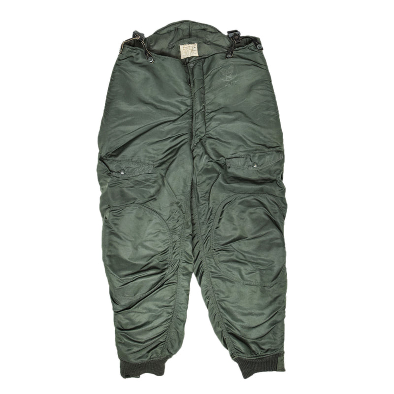 Vintage 60s Vietnam USAF F-1B Cold Weather Flying Trousers Green Size 40 FRONT