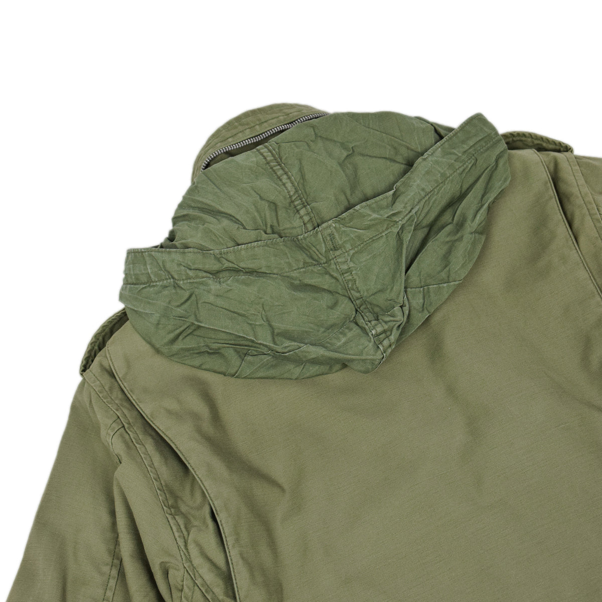 Vintage 60s Vietnam M-65 Field Cotton Sateen 0G-107 Green US Army Coat S Short hood