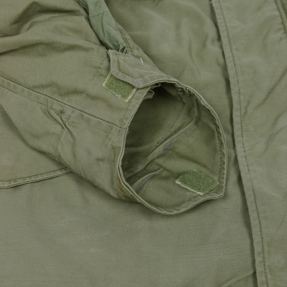 Vintage 60s Vietnam M-65 Field Cotton Sateen 0G-107 Green US Army Coat S Short cuff