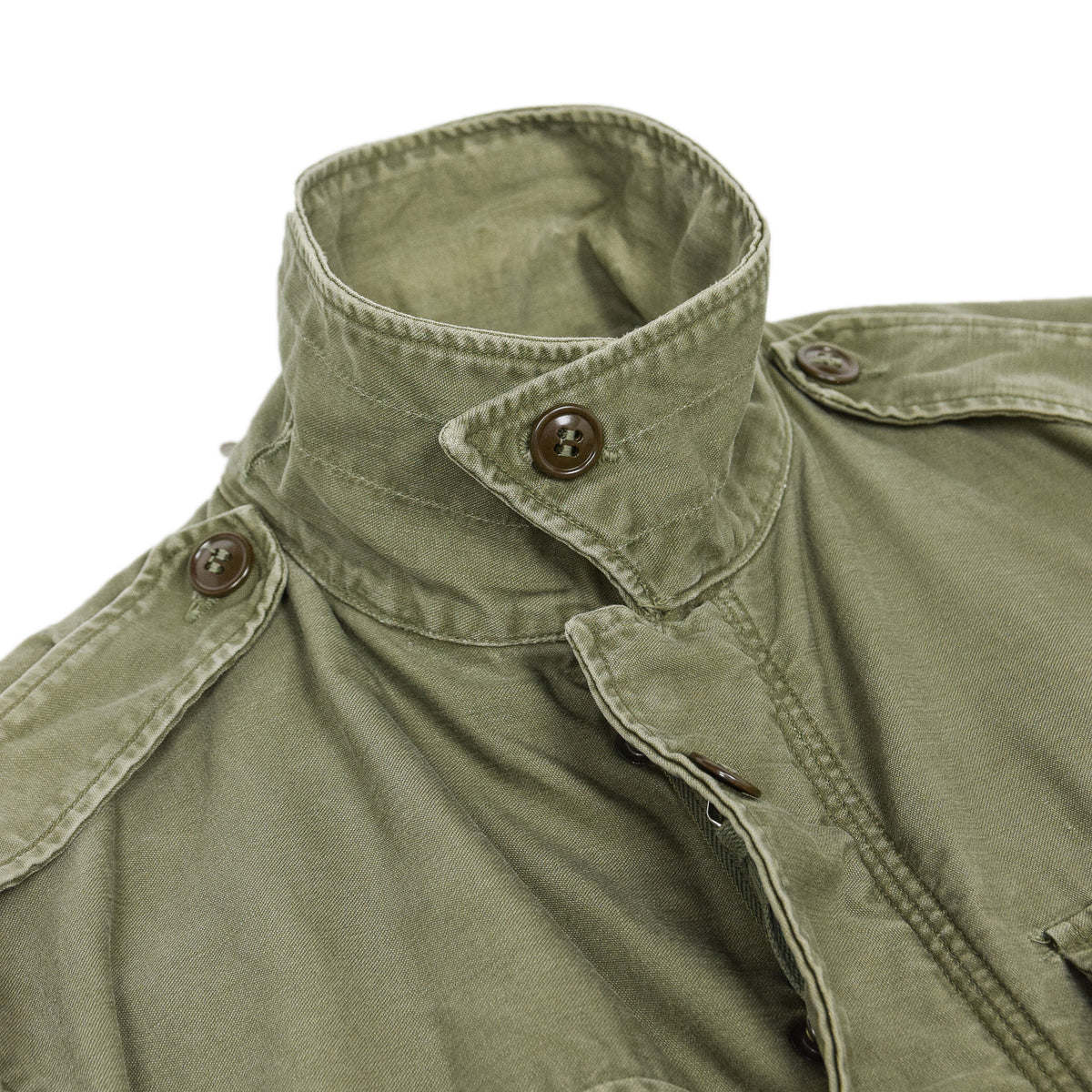 Vintage 50s M-1951 Korean War US Army Field Jacket Olive Green M collar