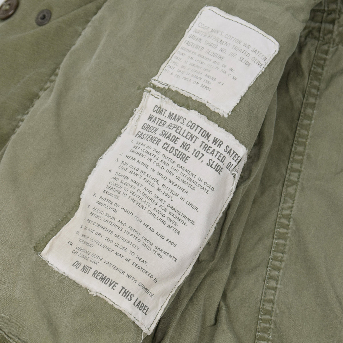 Vintage 50s M-1951 Korean War US Army Field Jacket Olive Green M labels