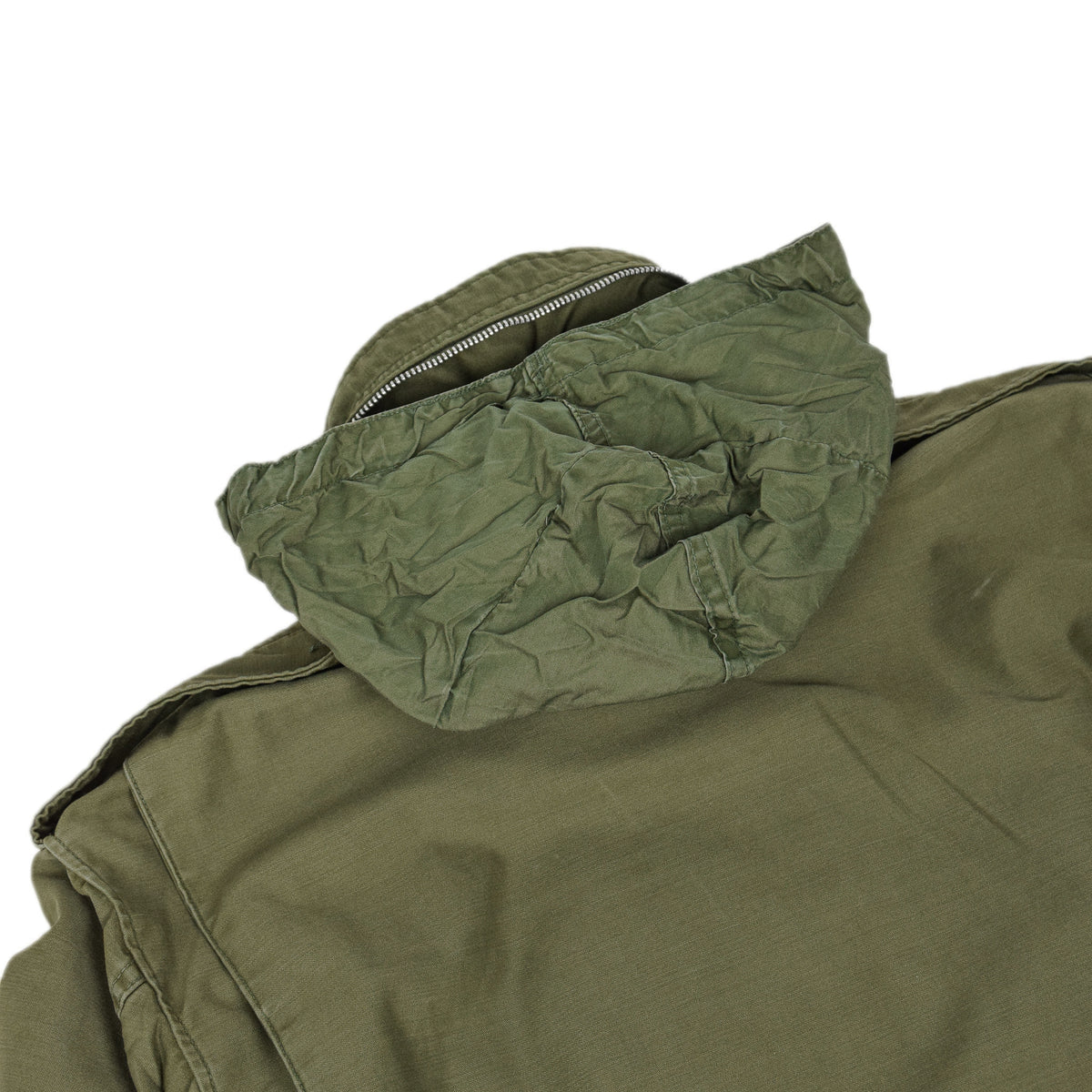 Vintage 60s Vietnam M-65 Field Cotton Sateen 0G-107 Green US Army Coat M Reg hood