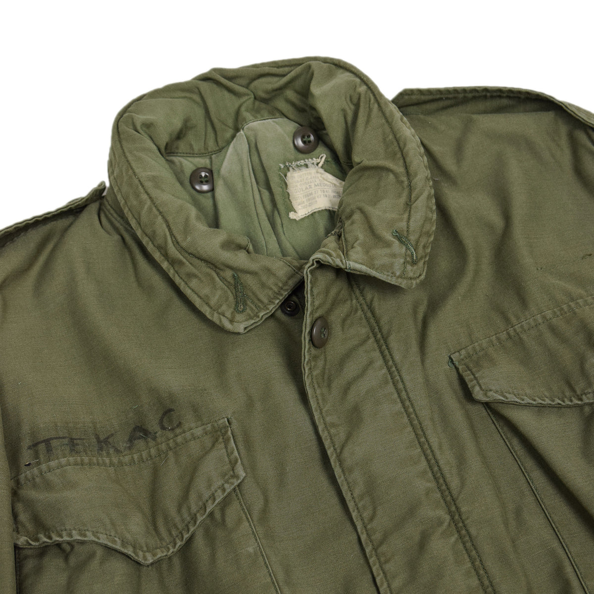 Vintage 60s Vietnam M-65 Field Cotton Sateen 0G-107 Green US Army Coat M Reg chest
