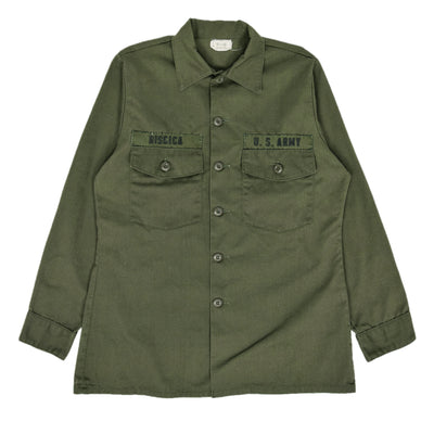 Vintage 70s US Army Durable Press Utility Military Shirt OG-507 Olive Green M front