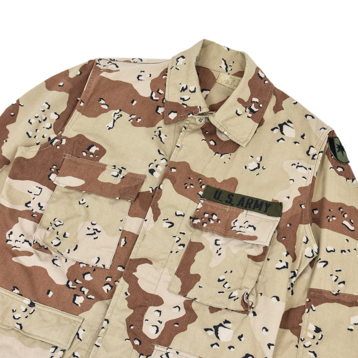 Vintage 80s US Army Choc Chip Desert Camo BDU Combat Coat Field Jacket M chest