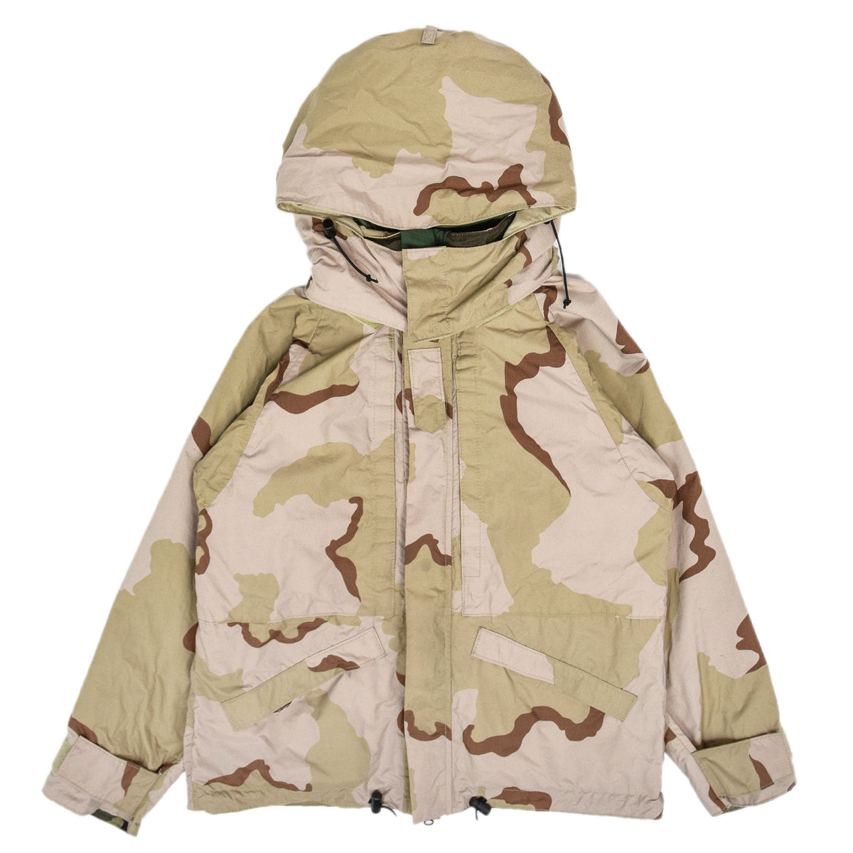Vintage Reversible Military Hooded Desert & Woodland Camouflage Jacket M reverse front