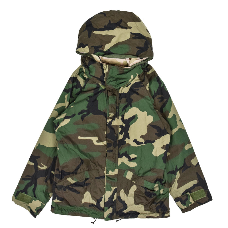 Vintage Reversible Military Hooded Desert & Woodland Camouflage Jacket M front