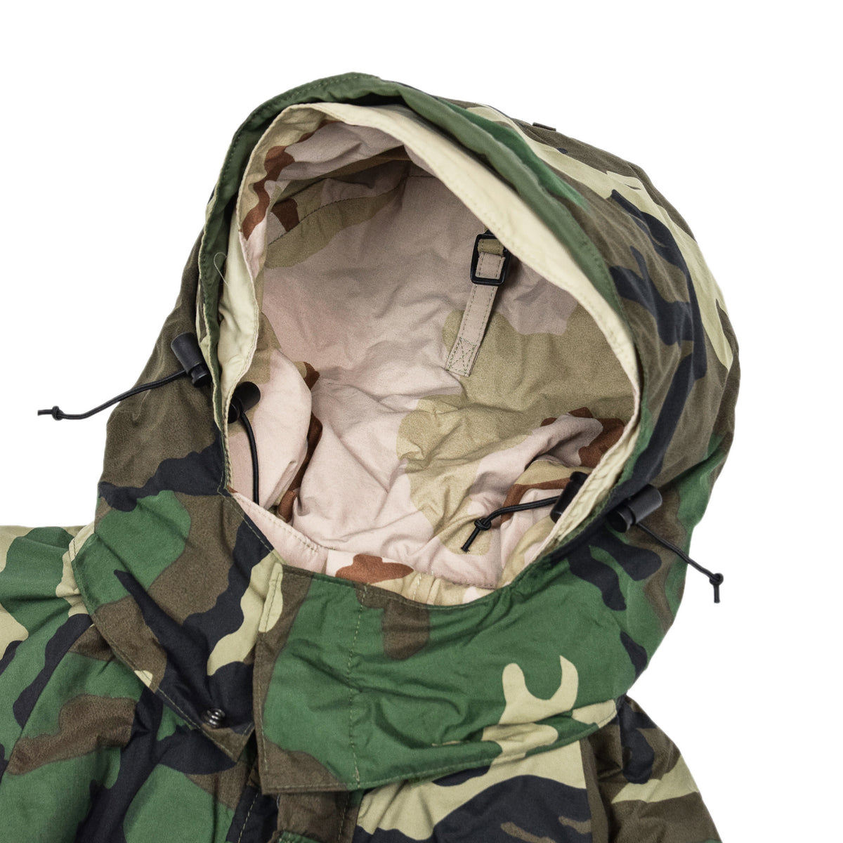 Vintage Reversible Military Hooded Desert & Woodland Camouflage Jacket M hood