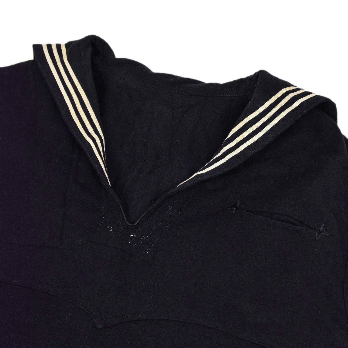 Deadstock Vintage WW2 US Navy Cracker Jack Military Wool Shirt M / L collar and pocket