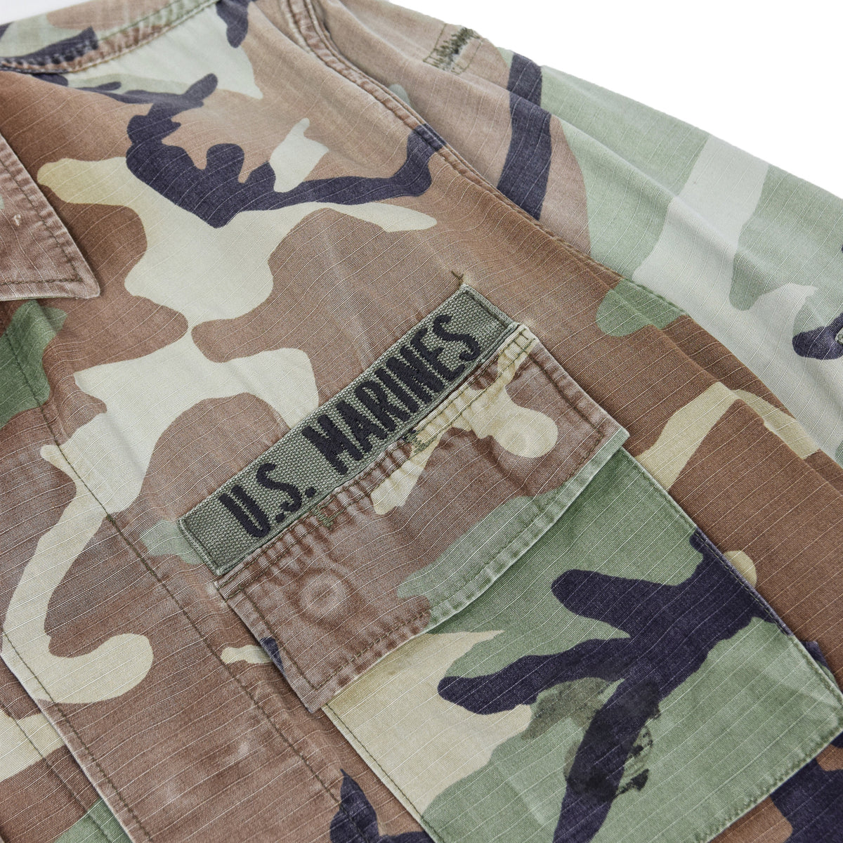 Vintage 90s USMC US Marines Hot Weather Woodland Camo Combat Coat S Reg pocket