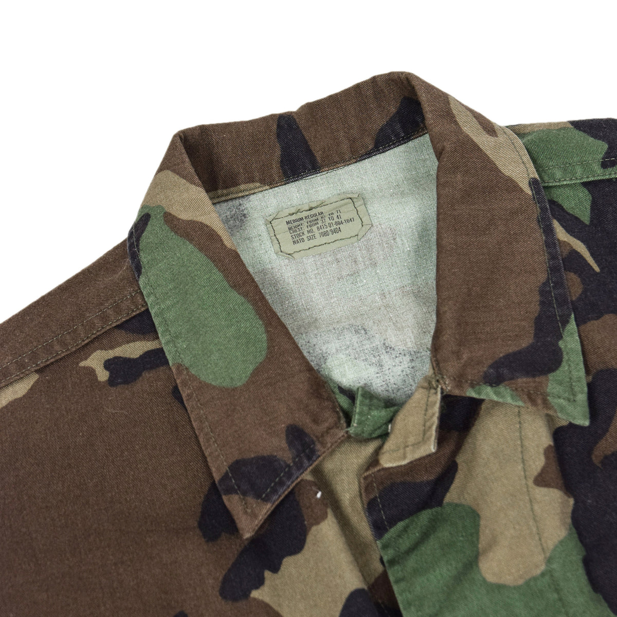 Vintage 90s US Army Woodland Camouflage BDU Combat Coat Field Jacket M COLLAR