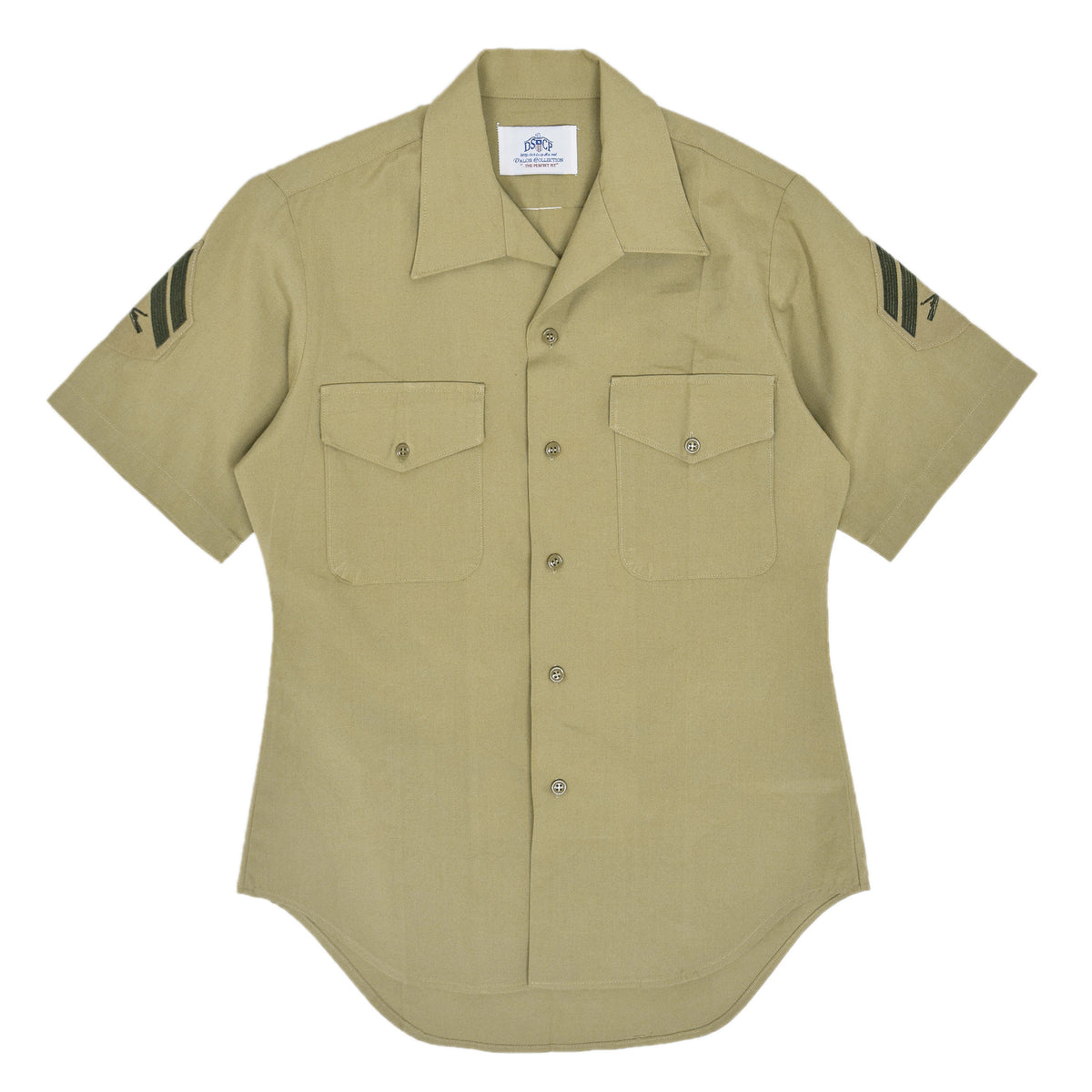 US Army DSCP Short Sleeve Khaki Cotton Military Field Shirt S front