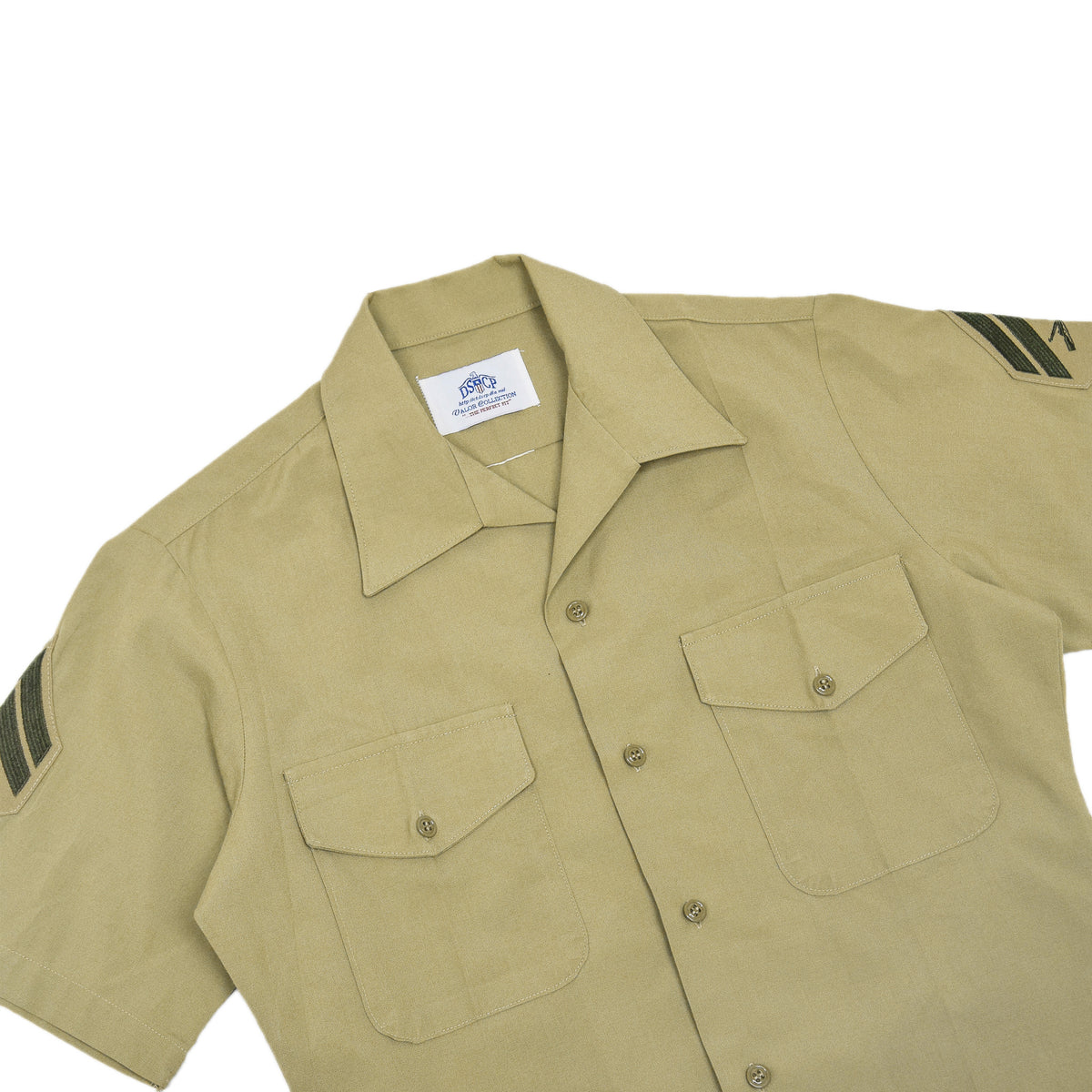 US Army DSCP Short Sleeve Khaki Cotton Military Field Shirt S chest