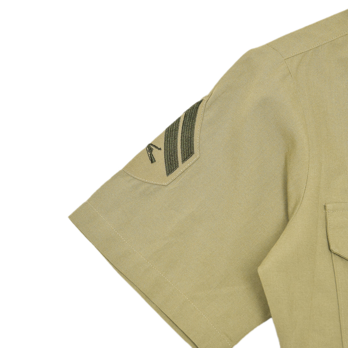 US Army DSCP Short Sleeve Khaki Cotton Military Field Shirt S arm badge