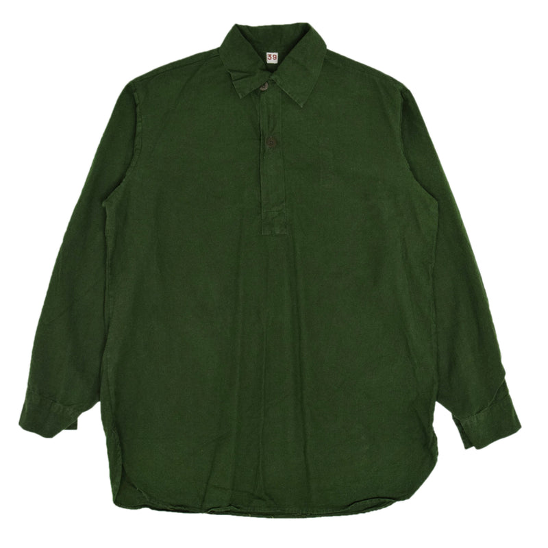 Vintage Swedish Military Overhead Smock Shirt Army Green M / L FRONT