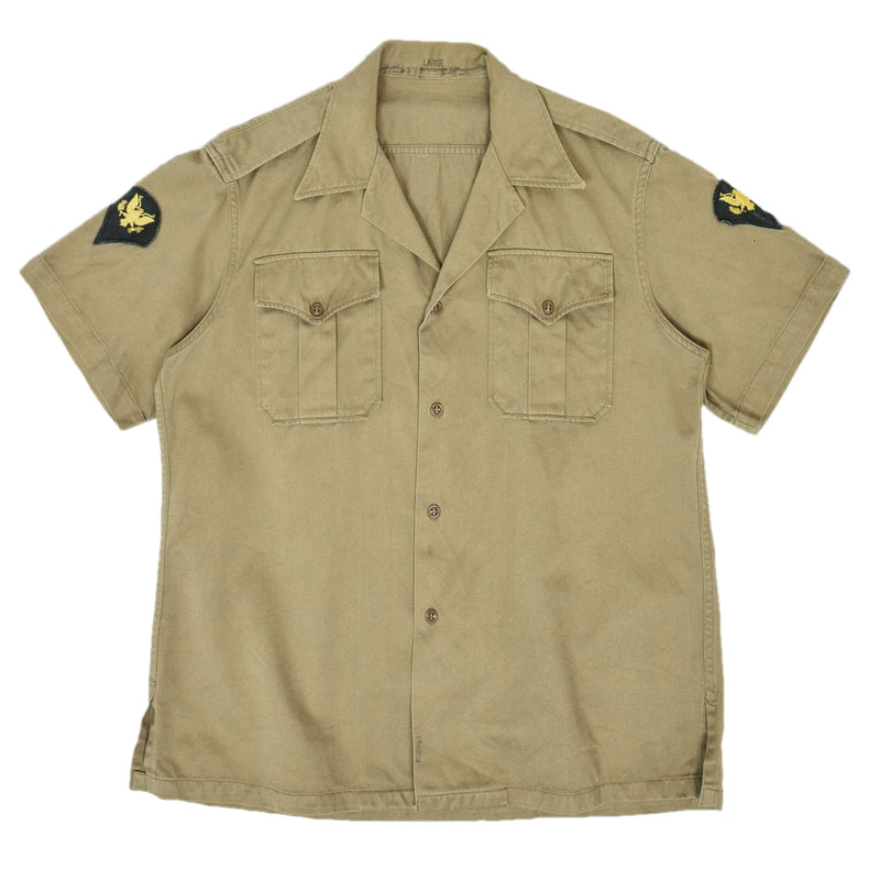 Vintage 50s Korean War US Army Khaki Cotton Twill Military Summer Shirt L FRONT