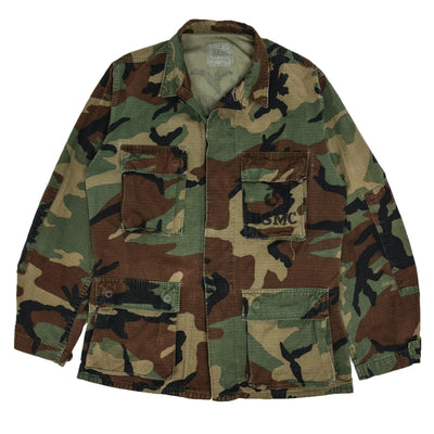 Vintage 80s US Army Hot Weather Woodland Camo Ripstop Combat Coat S Regular FRONT