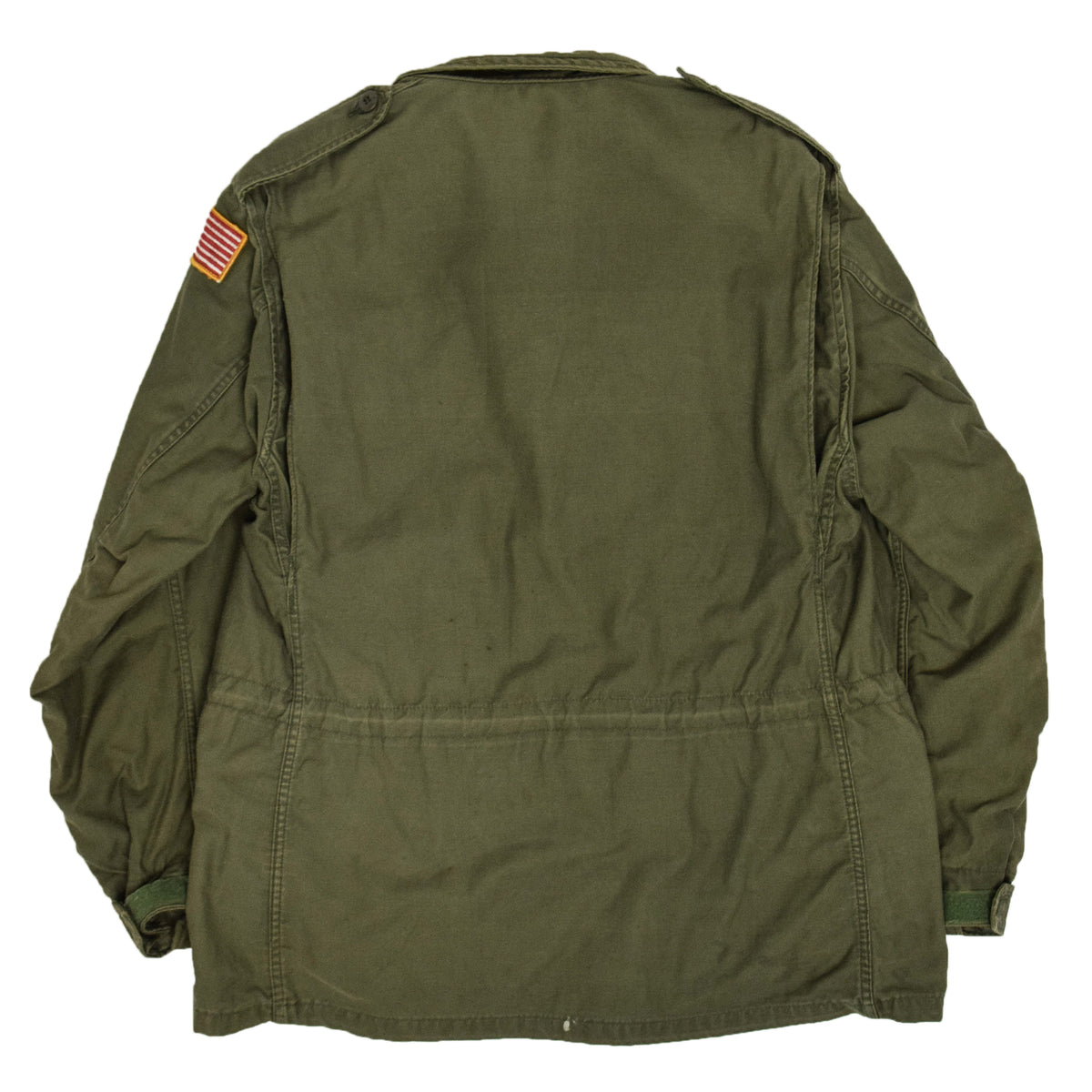 Vintage 80s M-65 Field Cotton Sateen 0G-107 Green US Army Coat L Regular  BACK