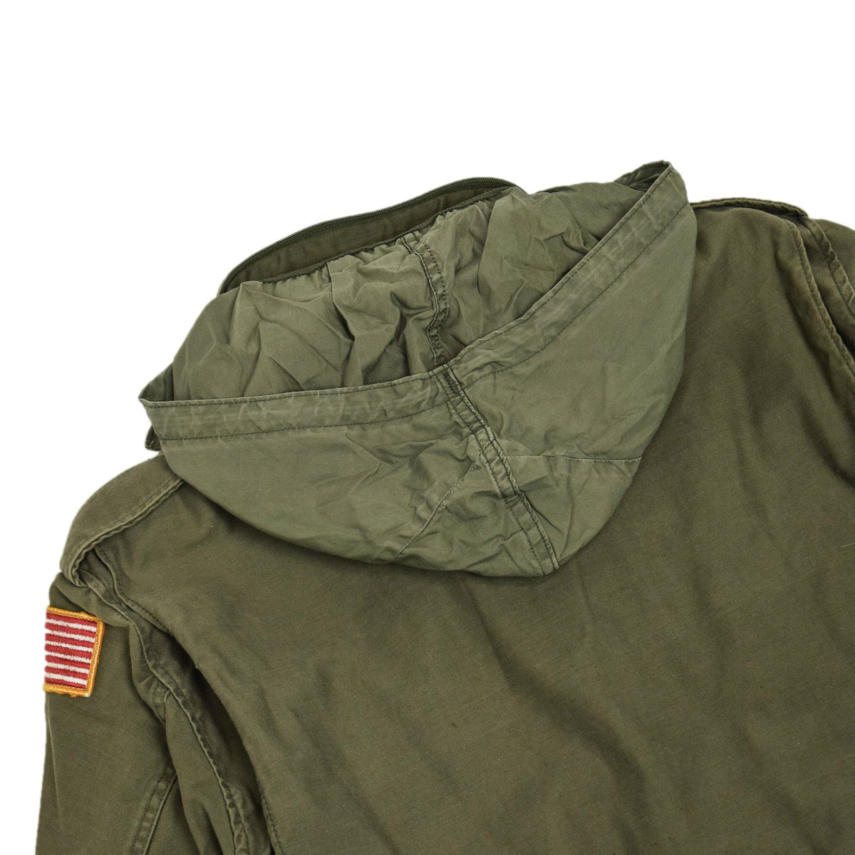 Vintage 80s M-65 Field Cotton Sateen 0G-107 Green US Army Coat L Regular  HOOD