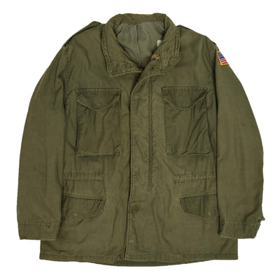 Vintage 80s M-65 Field Cotton Sateen 0G-107 Green US Army Coat L Regular  FRONT