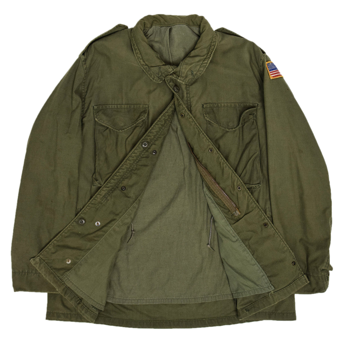Vintage 80s M-65 Field Cotton Sateen 0G-107 Green US Army Coat L Regular