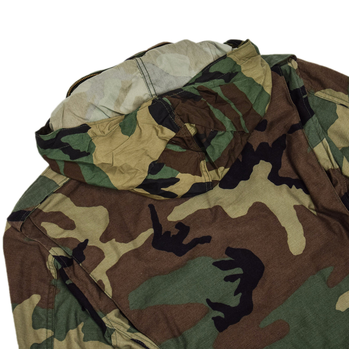 Vintage 80s US Army M-65 Woodland Camouflage Field Coat Military Jacket XS Reg HOOD