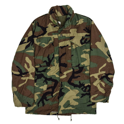 Vintage 80s US Army M-65 Woodland Camouflage Field Coat Military Jacket XS Reg FRONT