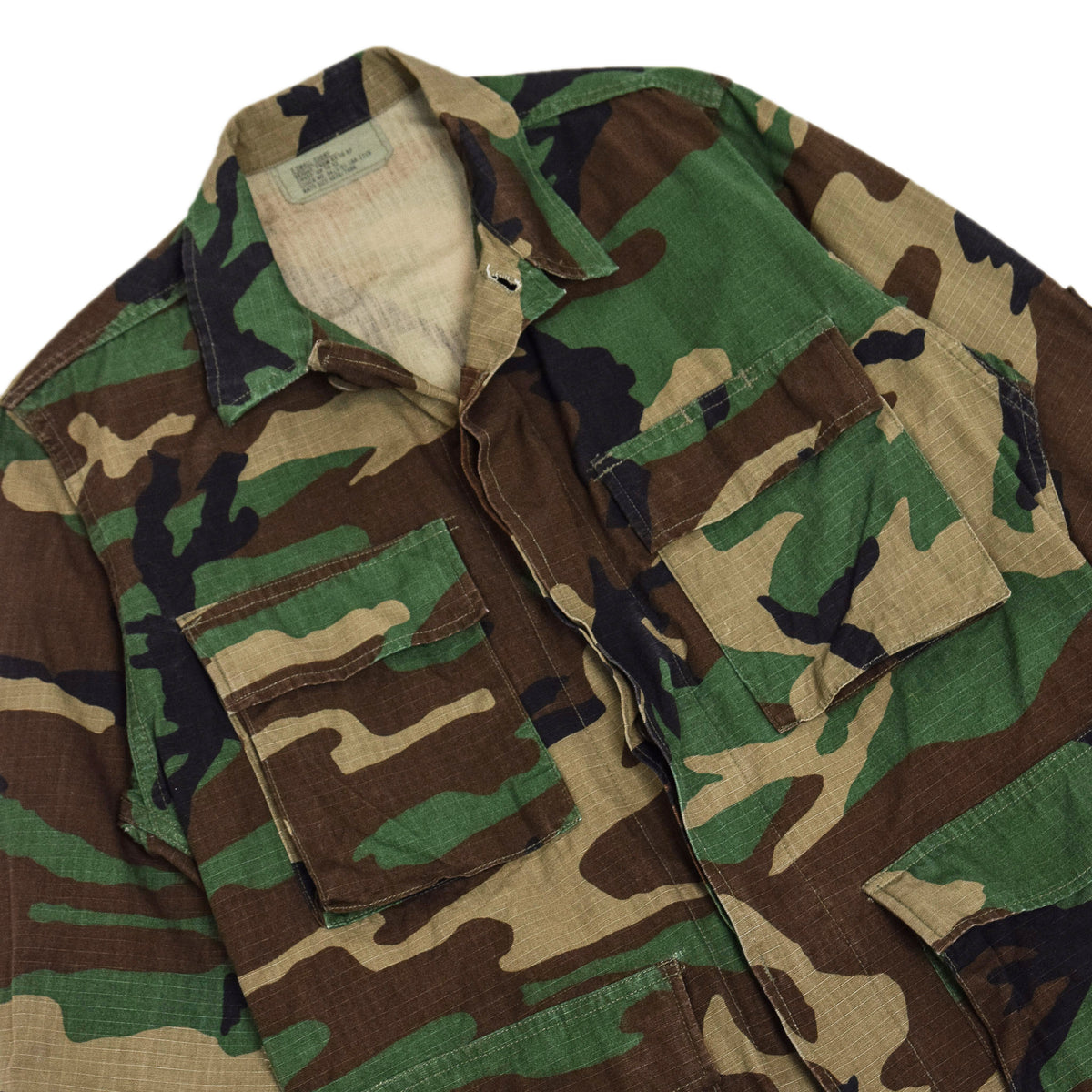 Vintage 90s US Army Hot Weather Woodland Camo Ripstop Combat Coat S Reg chest