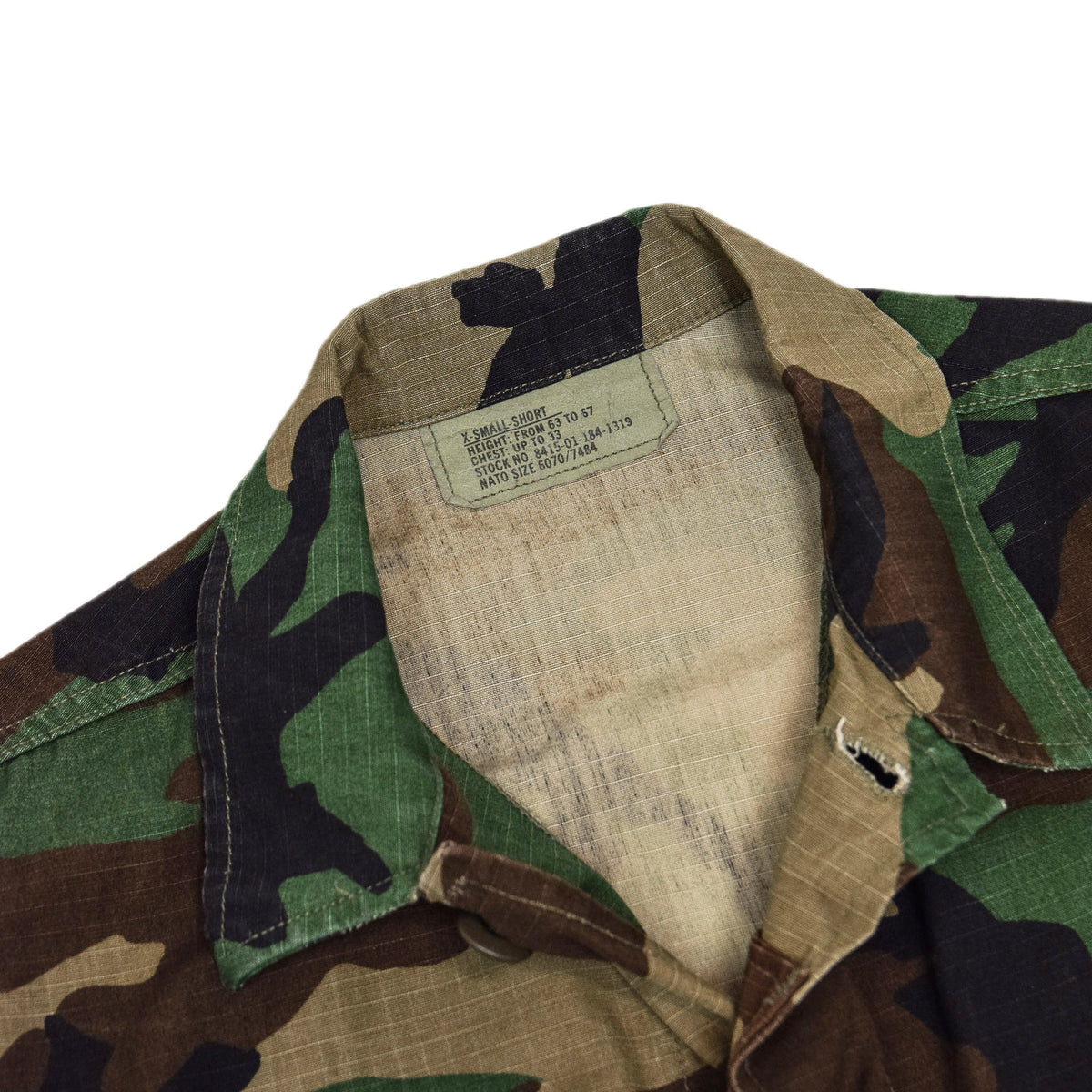 Vintage 90s US Army Hot Weather Woodland Camo Ripstop Combat Coat S Reg collar