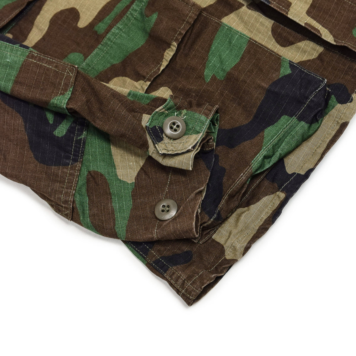 Vintage 90s US Army Hot Weather Woodland Camo Ripstop Combat Coat S Reg cuff