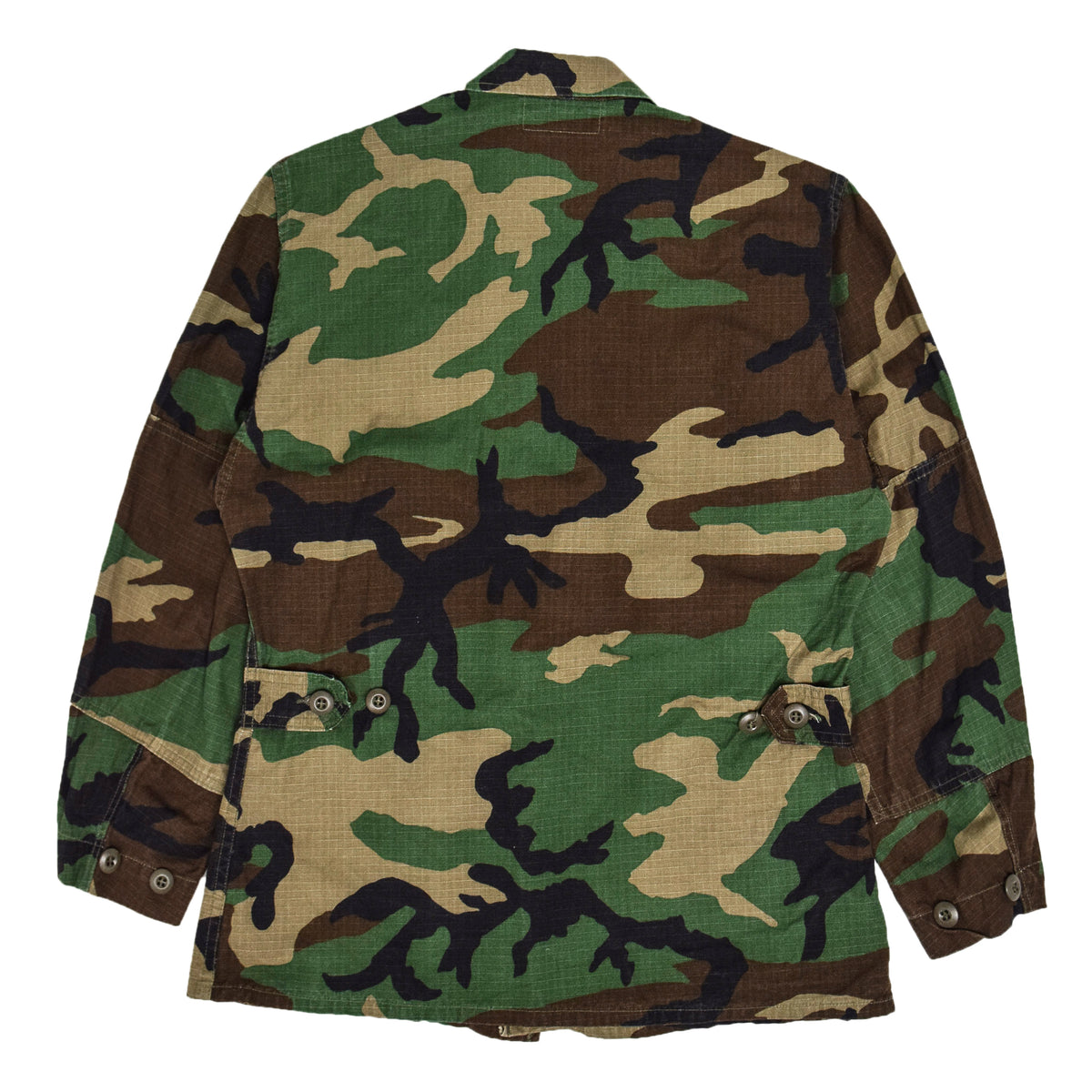 Vintage 90s US Army Hot Weather Woodland Camo Ripstop Combat Coat S Reg back