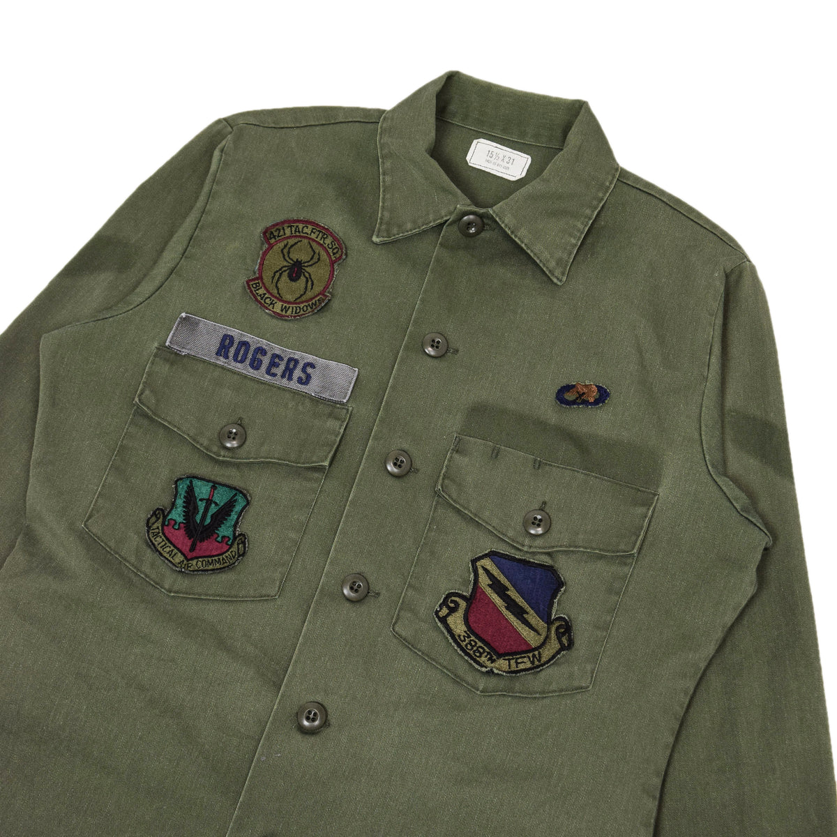 Vintage 80s US Air Force Dura Press Utility Military Shirt OG-507 Olive Green S / M chest