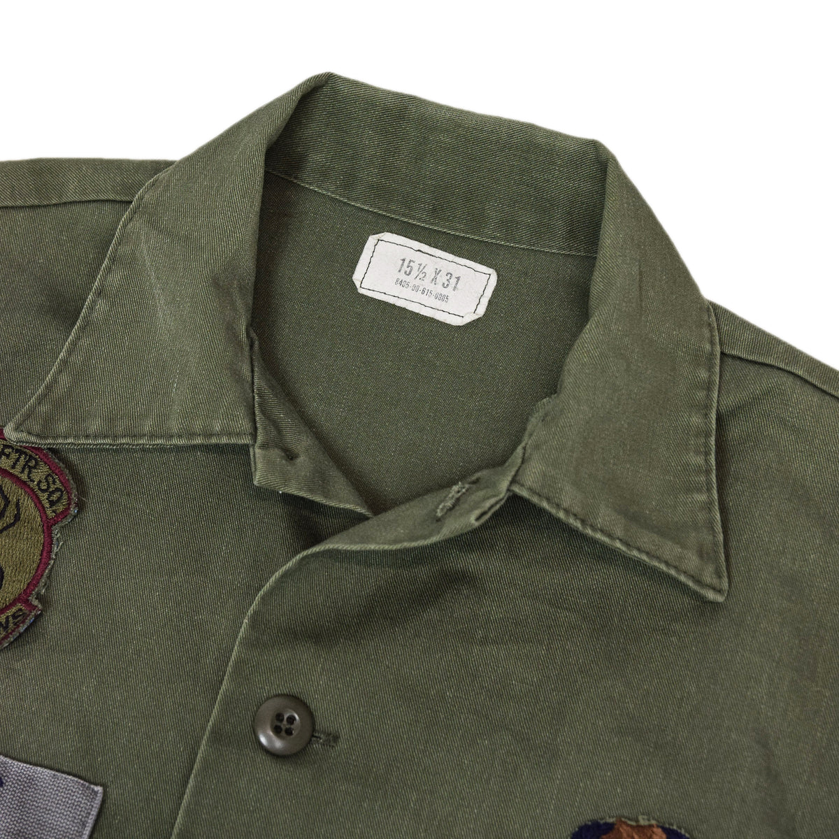 Vintage 80s US Air Force Dura Press Utility Military Shirt OG-507 Olive Green S / M collar