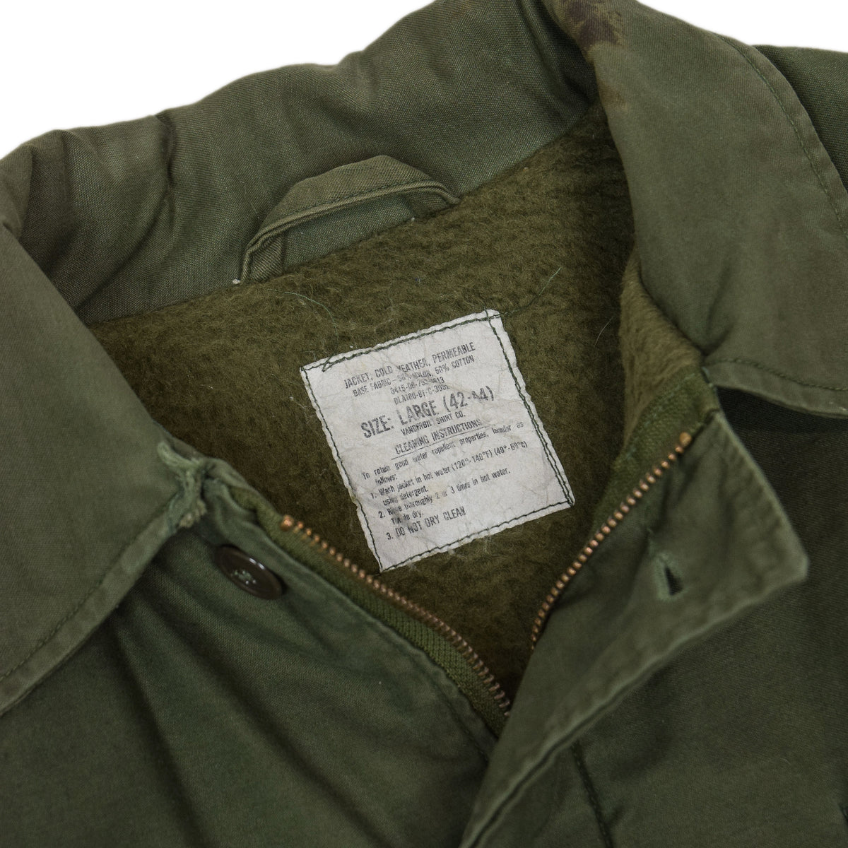 Vintage 80s US Navy USN A-2 Deck Jacket Cold Weather Permeable Green L label