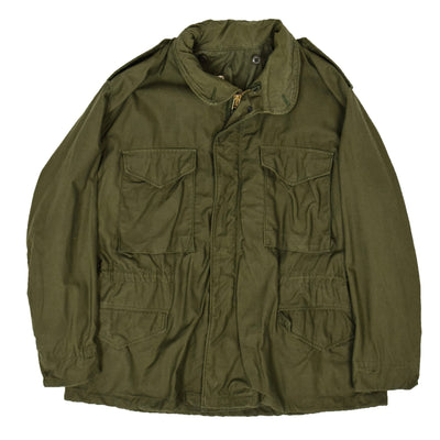 Vintage 70s M-65 Man's Field Cotton Sateen 0G-107 Green US Army Coat L Short  FRONT