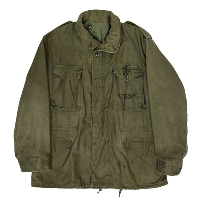 Vintage 70s M-65 Man's Field Cotton Sateen 0G-107 Green US Army Coat L Regular front