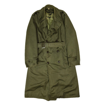 Vintage 50s Vietnam Era US Army OG-107 Long Trench Overcoat With Liner M FRONT