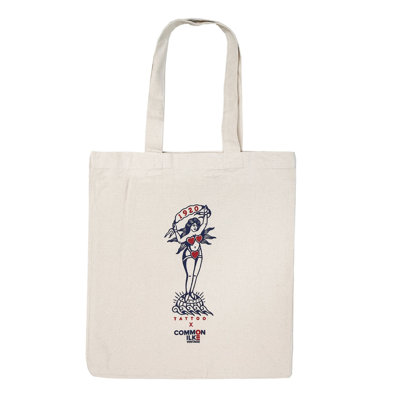 1920 Tattoo X COMMON ILKE VINTAGE Naked Lady Print Cotton Canvas Tote Bag front