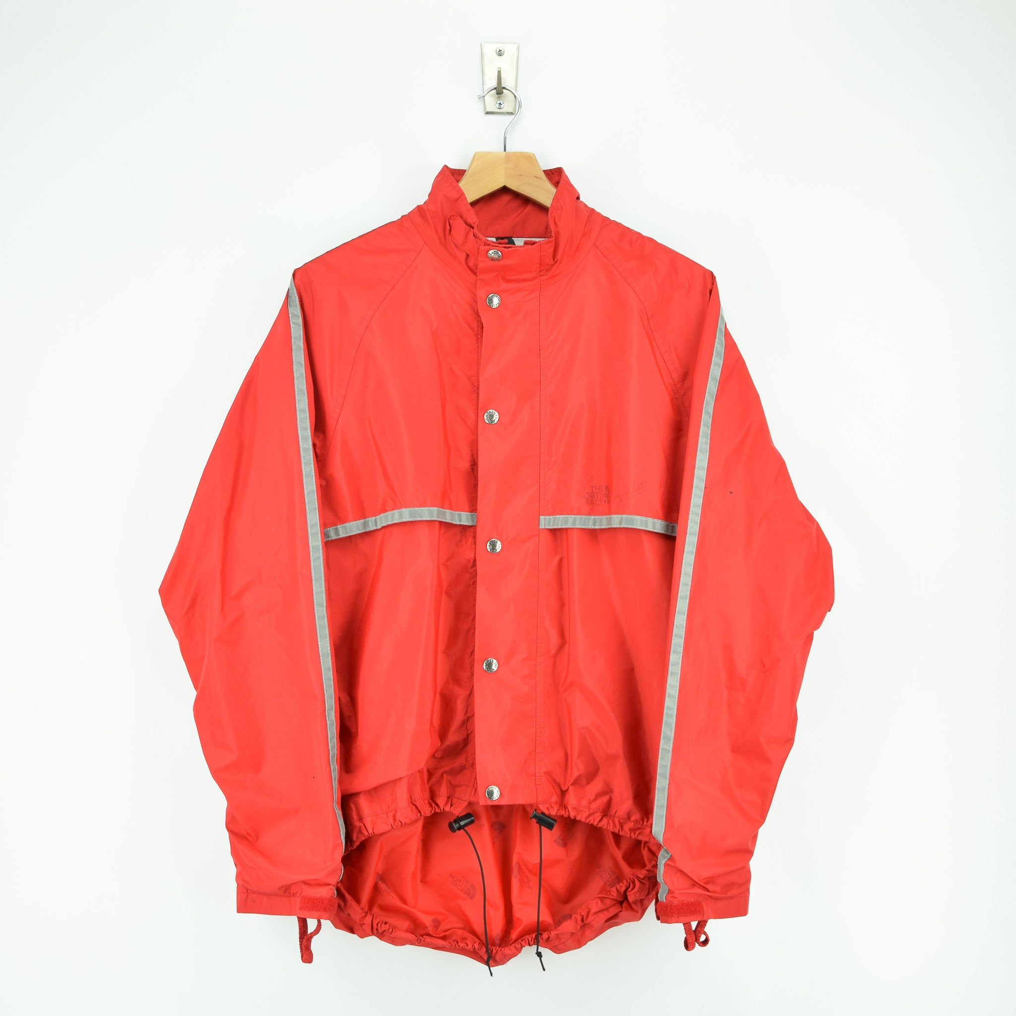 Vintage North Face Red Goretex Velo Biker Jacket Made in USA M front hem