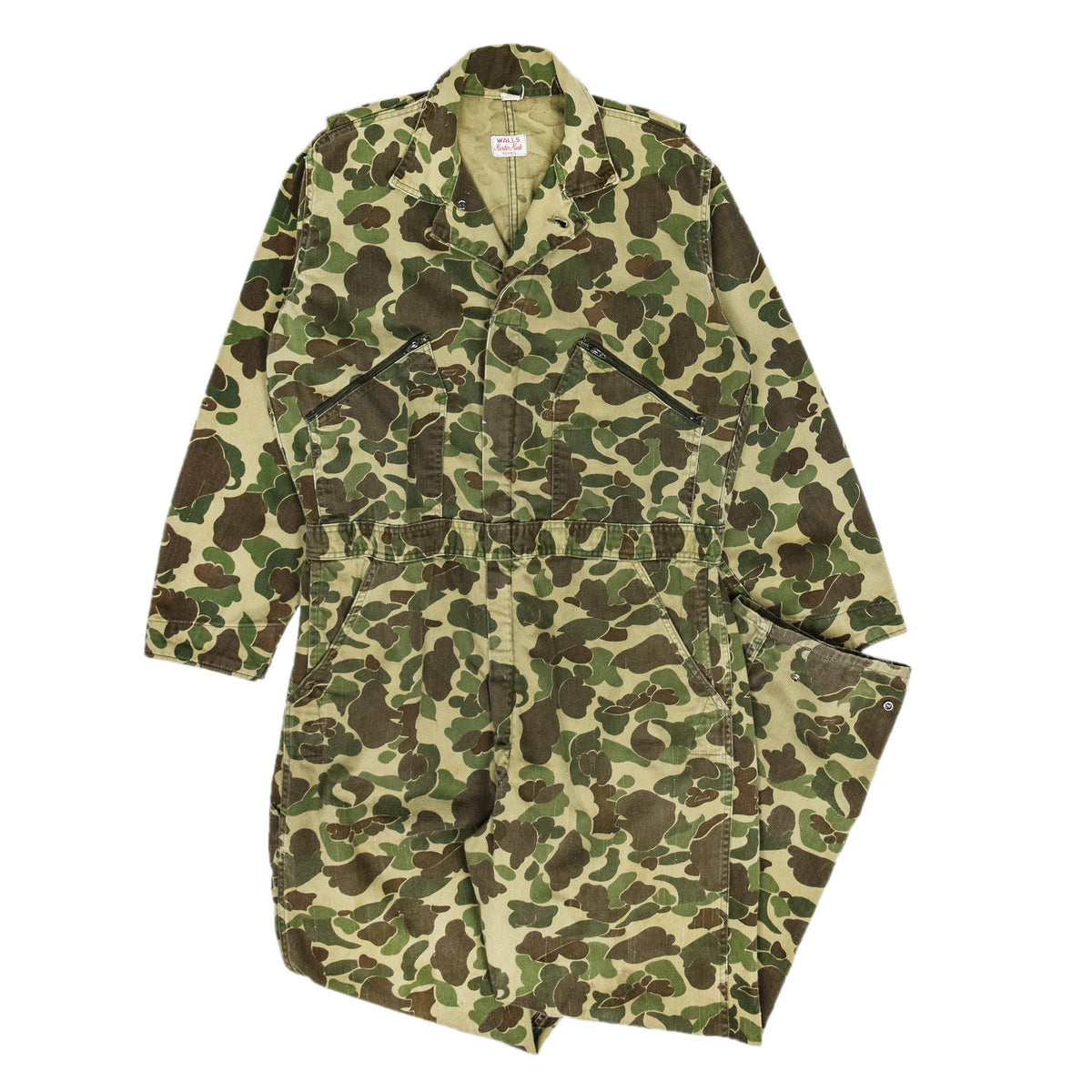Vintage Walls Master Made Duck Camo Hunting Coveralls Made in USA L front