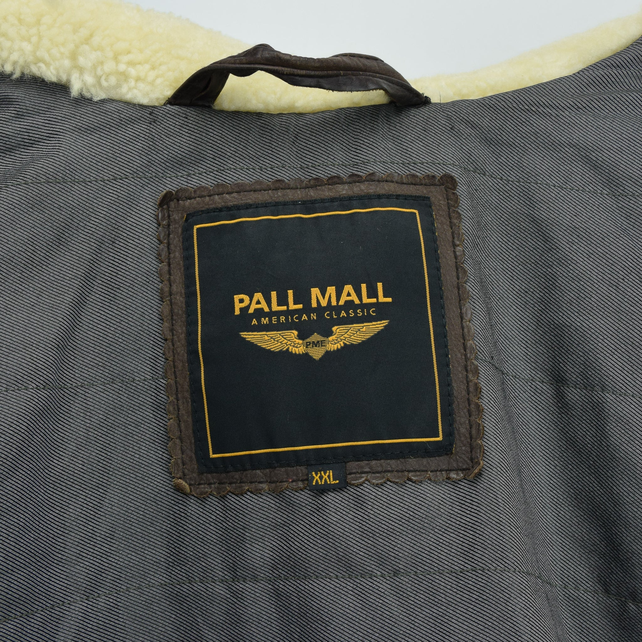 Vintage Pall Mall Cargo Pilot Coat Brown Shearling Sheepskin Flying Jacket XXL label