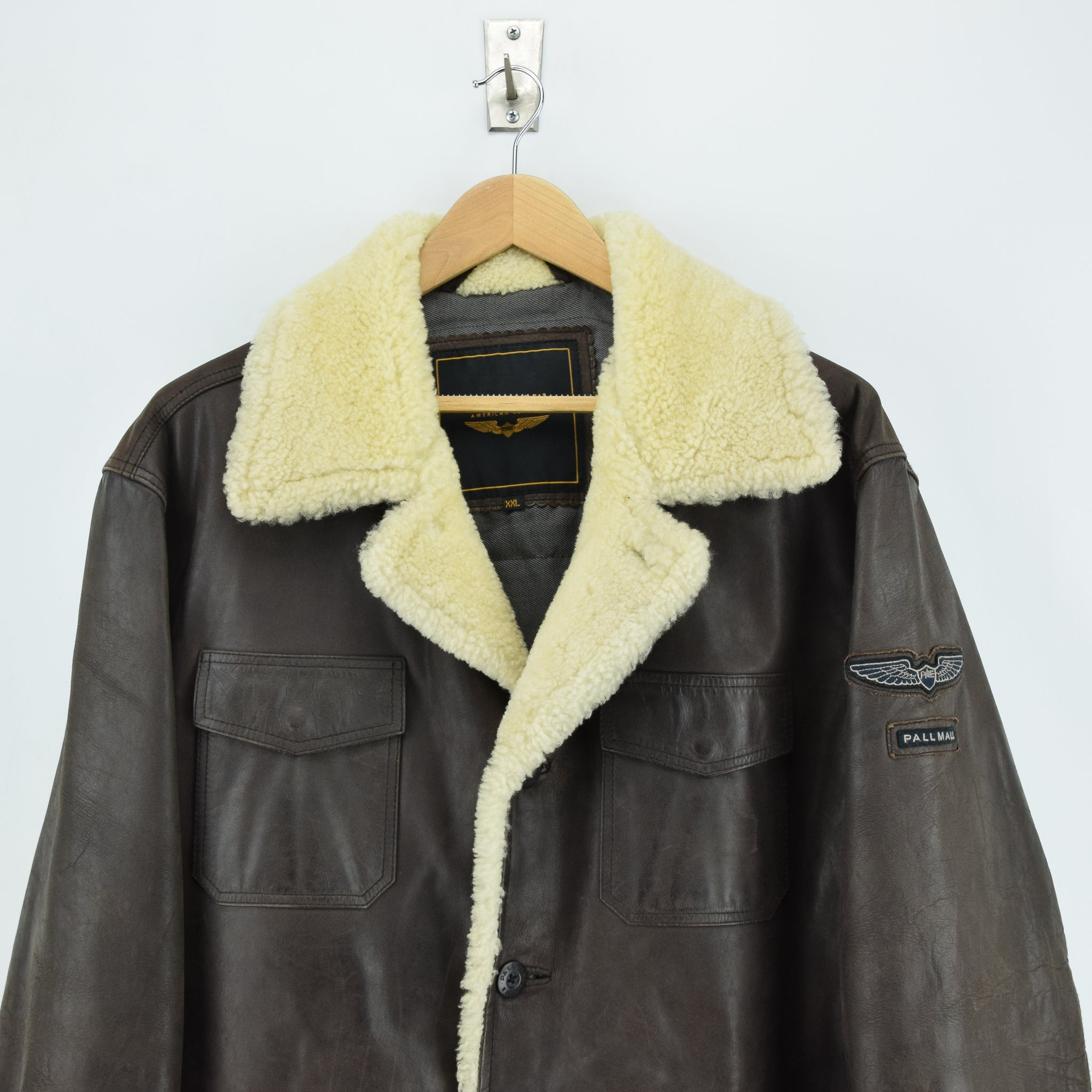 Vintage Pall Mall Cargo Pilot Coat Brown Shearling Sheepskin Flying Jacket XXL chest