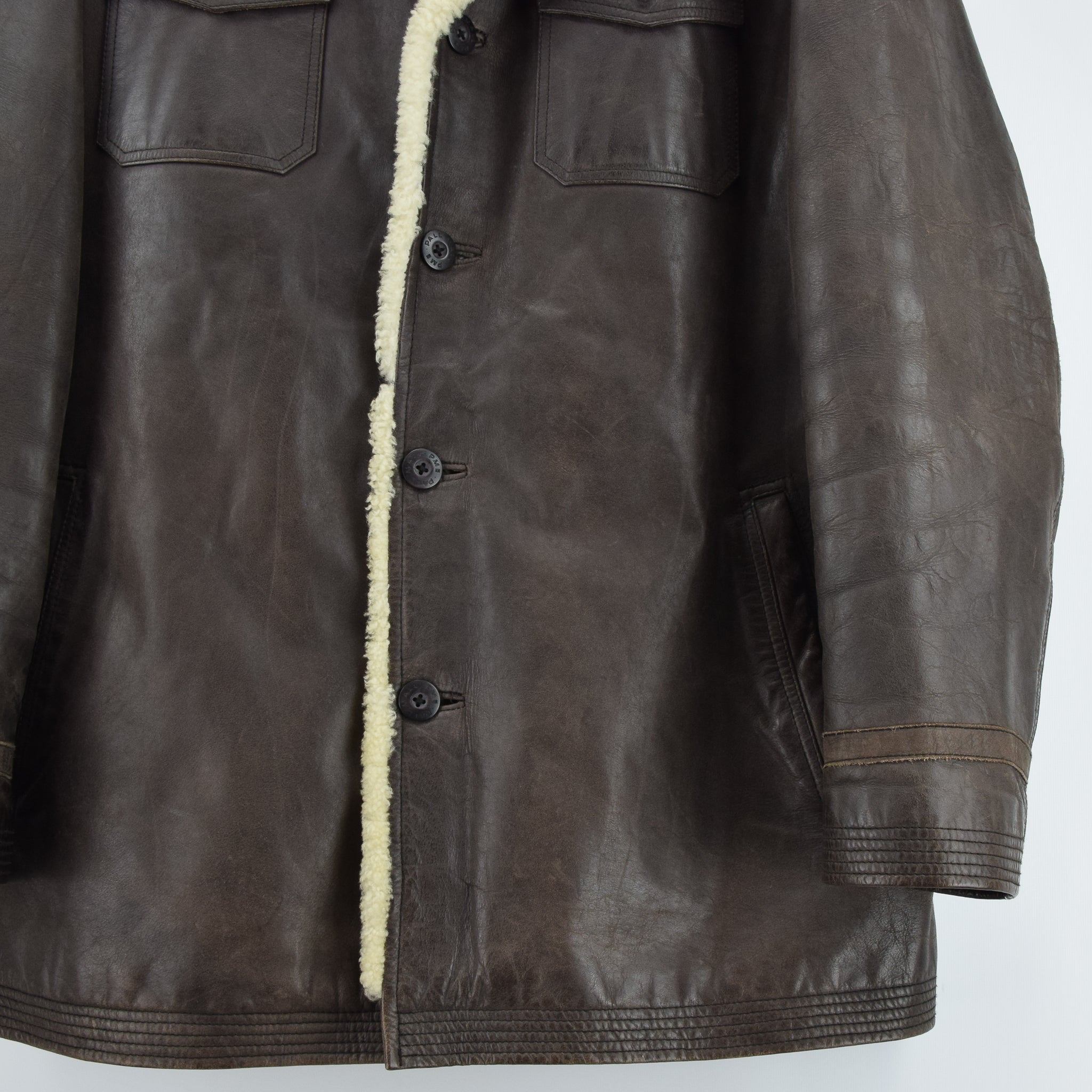 Vintage Pall Mall Cargo Pilot Coat Brown Shearling Sheepskin Flying Jacket XXL front hem