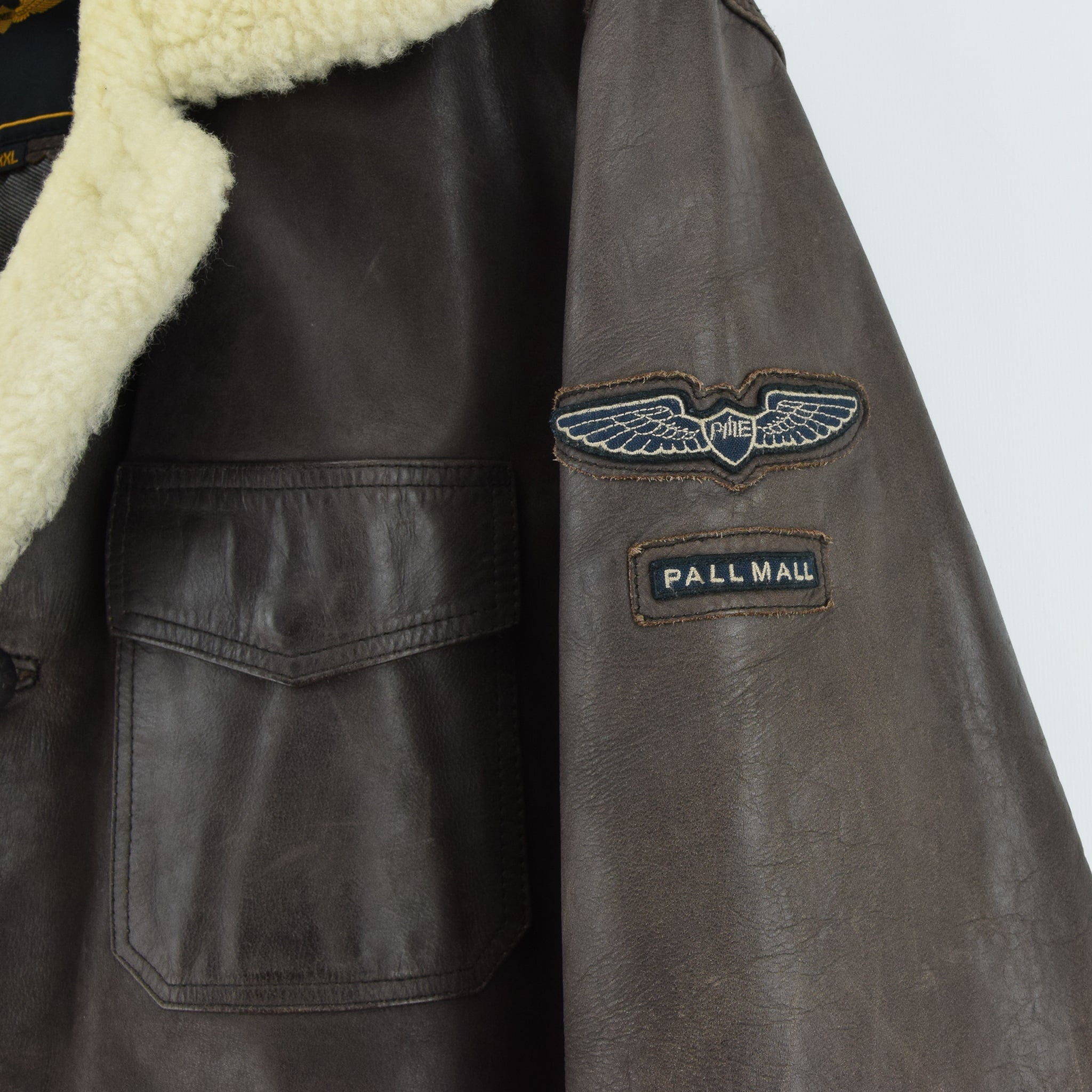 Vintage Pall Mall Cargo Pilot Coat Brown Shearling Sheepskin Flying Jacket XXL badges