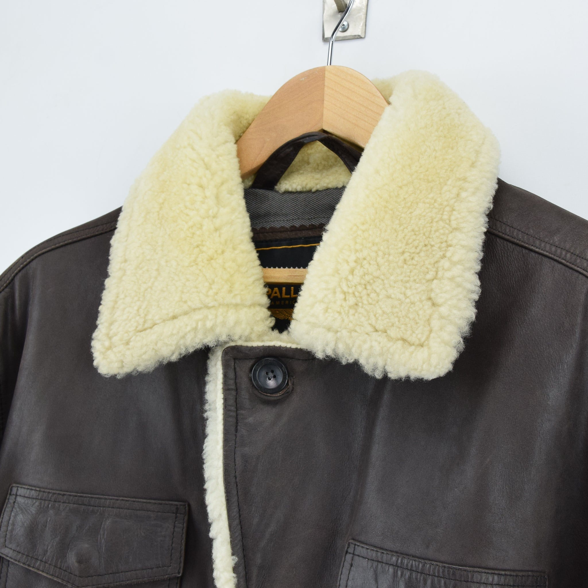 Vintage Pall Mall Cargo Pilot Coat Brown Shearling Sheepskin Flying Jacket XXL collar