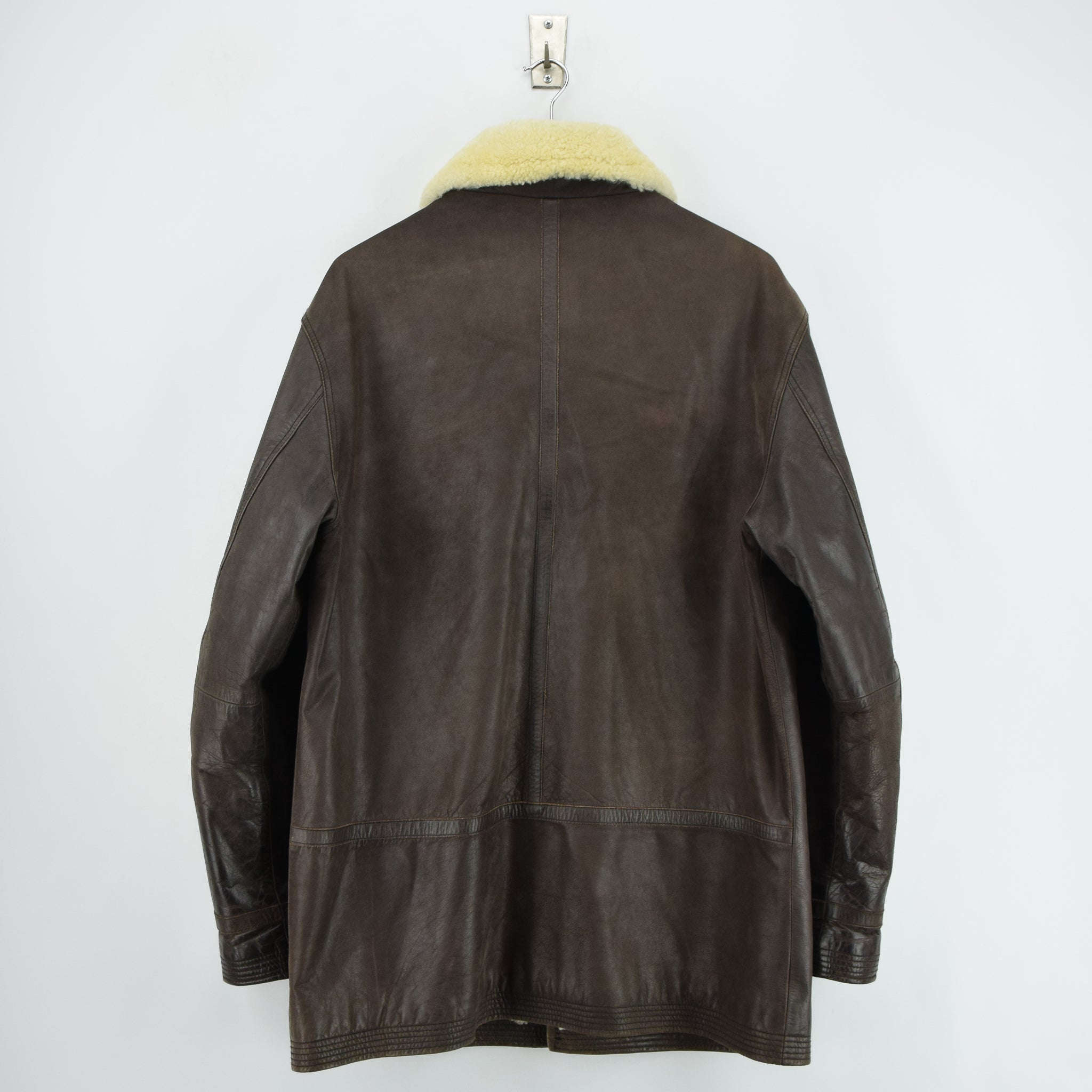 Vintage Pall Mall Cargo Pilot Coat Brown Shearling Sheepskin Flying Jacket XXL back