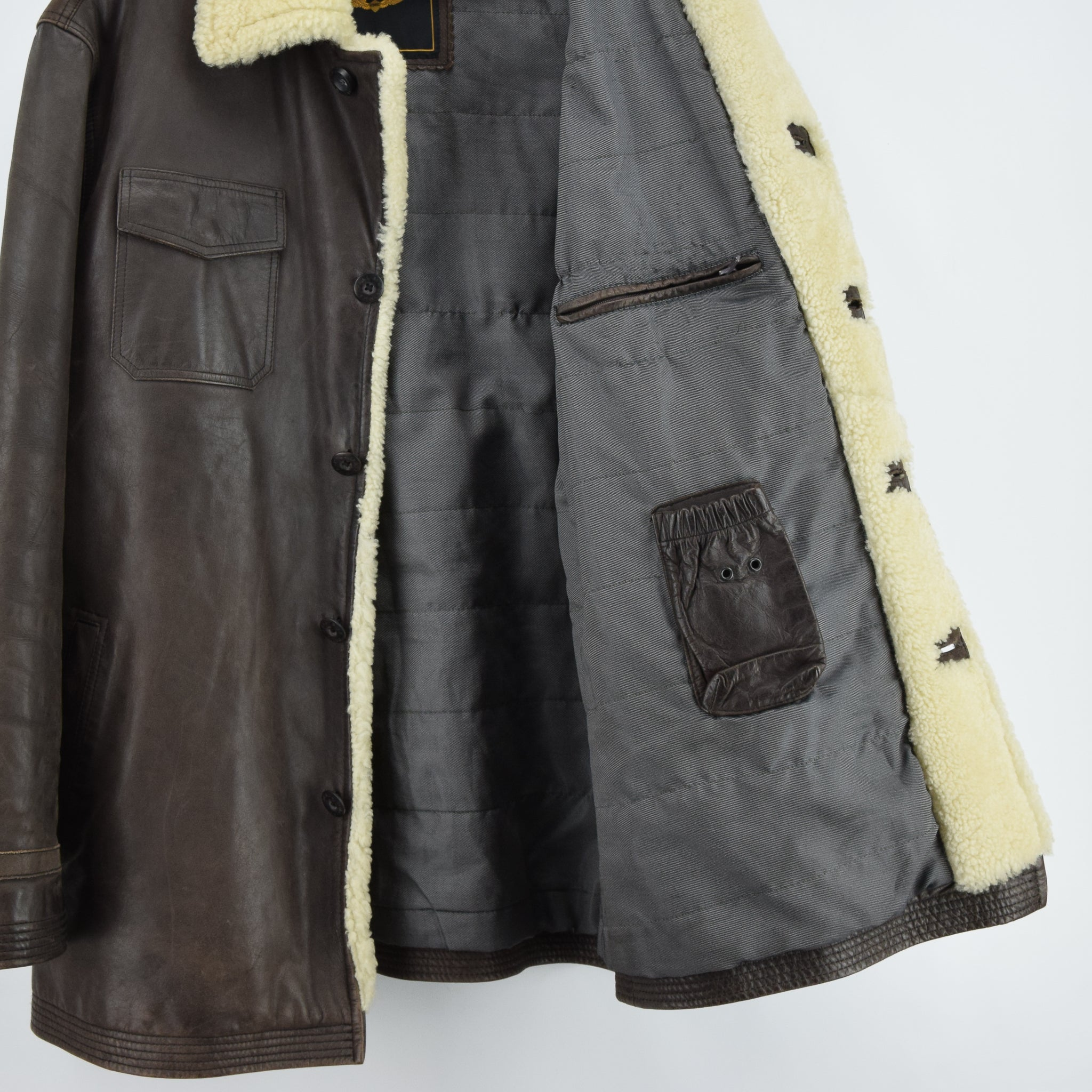 Vintage Pall Mall Cargo Pilot Coat Brown Shearling Sheepskin Flying Jacket XXL lining